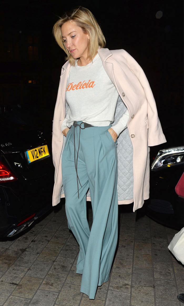 Mandatory Credit: Photo by Palace Lee/REX/Shutterstock (5609669b) Kate Hudson Kate Hudson out and about, London, Britain - 04 Mar 2016 WEARING ZIMMERMAN WIDE BRIM BRIMED TROUSERS & ALEXANDER LEWIS SWEATER